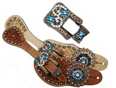 Showman™ Ladies Tooled Leather Spur Straps with Vintage Style Buckle and Crystal Rhinestone Conchos.