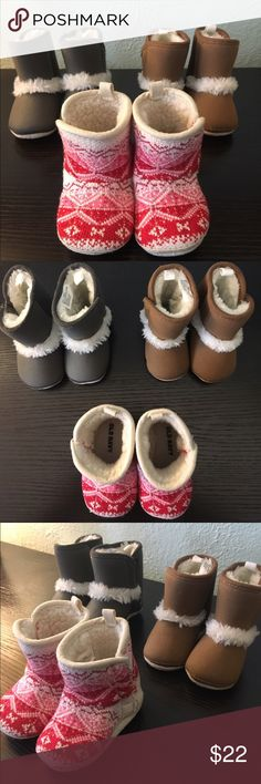 """3 pairs of Boots 3-6 months Old Navy Ugg look a like soft boots. Want to keep as a bundle please. Each boot has side Velcro closure. Soft """"fur"""" inside. 100% smoke and pet free home. old navy  Shoes Boots"""
