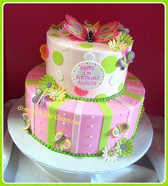 Butterflies & Daisies Birthday Cake
