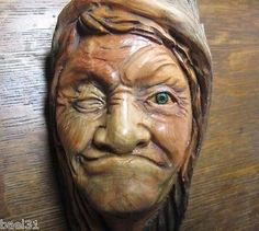 Carved Wood Tree Spirit Wrinkled Old Hag Pine Knot Witch Woman Hansel Gretel Elf