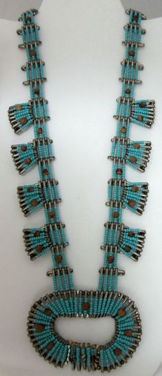 Vintage Turquoise-Blue Bead/Safety Pin Squash Blossom Necklace