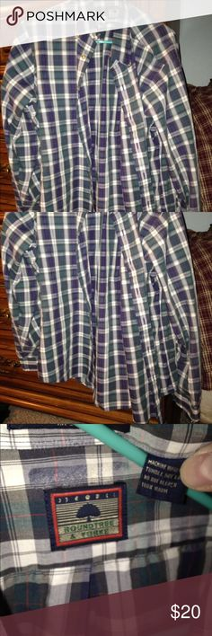Men's button down plaid shirt Not a flannel but a nicer button down plaid shirt. Great for any occasion. Clean. Awesome condition. Roundtree & Yorke Tops Button Down Shirts