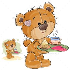 Vector illustration of a loving brown teddy bear carrying a tray with breakfast and a valentine lying on it. Print, template, design element