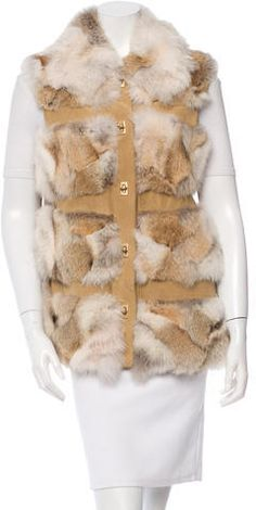 Camel and beige Michael Kors coyote fur vest with suede trim, dual slit pockets at hips and brass closures at front. Vest Jacket, Fur, Michael Kors, Vests, Jackets, Women, Style, Shearling Vest, Down Jackets