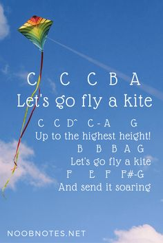 Let's Go Fly a Kite – Mary Poppins (Disney) letter notes for beginners - music notes for newbies