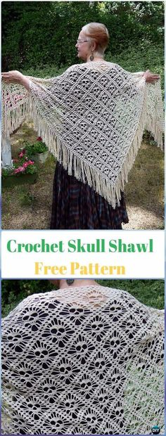 Crochet Shawl Michelle Crochet Passion: Crochet Skull Shawl Free Pattern-I crochet awfully, but this is amazing - Free Form Crochet, Crochet Shawl Free, Crochet Shawls And Wraps, Crochet Scarves, Crochet Clothes, Crochet Cape, Crochet Shirt, Crochet Edgings, Knitted Shawls