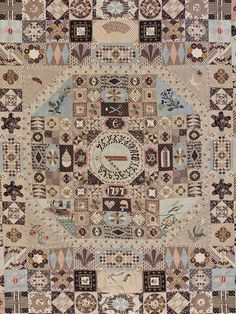 Detail of the Sundial Coverlet V. Old Quilts, Antique Quilts, Star Quilts, Vintage Textiles, Vintage Quilts, Quilting Projects, Quilting Designs, Patchwork Designs, History Of Textile
