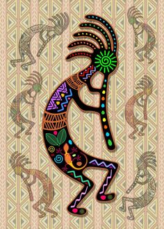 """Kokopelli Rainbow Colors on Tribal Pattern "" by BluedarkArt Kokopelli Tattoo, Tribal Pattern Art, Tribal Art, Aztecas Art, Art Mural, Native American Design, Painted Gourds, Rock Painting Designs, Tatoo"