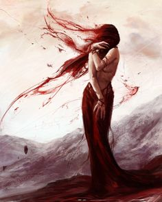 Love her hair/streaks of red. Great movement.