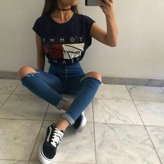 45 süße Outfits für Teenager im Sommer - Diy-Mode - Mode - New Ideas Tumblr Outfits, Trendy Outfits, Black Outfits, Casual Teen Outfits, Outfits For Girls, Casual Ootd, Teenage Girl Outfits, Fashionable Outfits, Simple Outfits