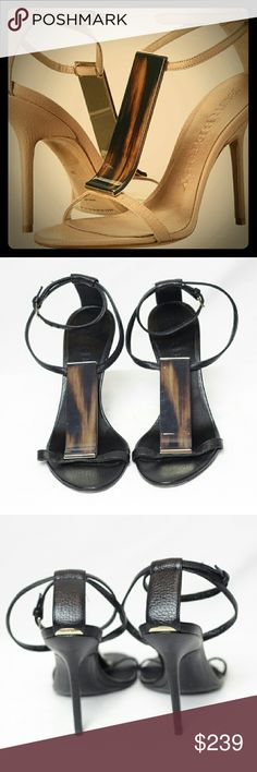 """Burberry ♡ The very sexy """"Irving"""" T-strap sandle high heel. Leather upper, open toe, ankle strap. Covershot shows different color ♡. Burberry Shoes Heels"""