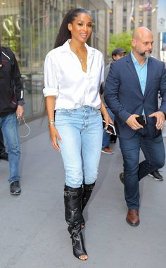 Ciara from The Big Picture: Today's Hot Photos Cool and classic! The songstress pairs a sexy, knee high boot with a simple button down and jeans in NYC. Ciara Wilson, Ciara And Russell Wilson, Classy Work Outfits, Casual Fall Outfits, Rita Ora, Nina Dobrev, Katy Perry, Ciara Style, Hottest Photos