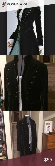 Black velvet coat Newport News brand. Black velvet with revolutionary/colonial/rococo military style. No missing buttons or hooks, no stains or holes. Steampunk Lolita Newport News Jackets & Coats
