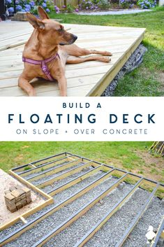 How to build a DIY floating deck (aka ground level deck) that is on a slope and partially over concrete – SO MUCH covered in what you need t… – Ugly Duckling House Projects & Posts – howto Building A Floating Deck, Building A Deck, Floating Deck Plans, Deck Over Concrete, Diy Concrete Patio, Concrete Projects, Deck Foundation, Platform Deck, Deck Construction
