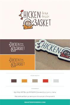 Fried Chicken Restaurant Logo Branding   Chicken Graphic Design   Typography Logo   Basket Design