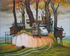 Beautiful cartoon worlds by Polish artist Jacek Yerka. Beautiful cartoon worlds by Polish artist Jacek Yerka. Nature Landscape, Max Ernst, Magic Realism, Art Et Illustration, Art Academy, Painting Gallery, Art Database, Pop Surrealism, Art For Art Sake