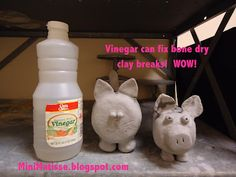 Mini Matisse: Vinegar Can Repair Clay! place smaller broken-off piece in vinegar and it will start to fizzle, remove and hold onto larger section where it broke off and it will stay!