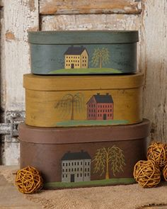 Primitive Country Folk Art SALTBOX  HOUSE WILLOW TREE Nesting Stacking Boxes  #Country