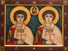 Saints Sergius and Bacchus Roman Soldiers, Early Christian, Bacchus, Orthodox Icons, Mythology, Christianity, Saints, Spirituality, Baseball Cards
