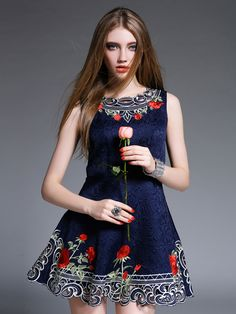 Navy Floral Pattern Cut Out Sleeveless Jacquard Skater Dress | abaday