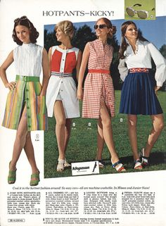 Of all the zany, wild fashions of the some actually bring back fond memories - memories that is of my wasted youth. The Hot Pants were. Seventies Fashion, 60s And 70s Fashion, Junior Fashion, Teen Fashion, Retro Fashion, Fashion Models, Vintage Fashion, Fashion Trends, Hot Pants