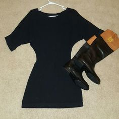 Express Black Tunic Sweater Dress 3/4 length sleeves with cuffs at the end. Empire waist, light weight sweater dress. In perfect condition, only worn once! Retail:$65  **NO TRADES **Cheaper on Mercari Express Dresses Mini