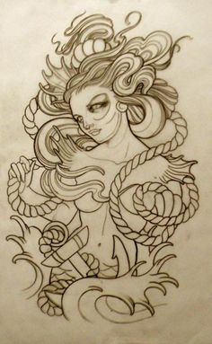 Tattoo Artwork by Emily Rose Murray. if i ever got a pinup, this is what i would get