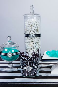 Black and white party, anyone? Add a hint of color and some sparkle to your theme to give it life. We used the Crystal Buckle Slide for this project. Black White Parties, Black And White Theme, Black And White Fabric, Black Party, White Bridal Shower, White Baby Showers, Black And White Centerpieces, Teal Party, Candy Centerpieces