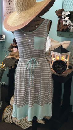 Mint and Gray Stripe Dress – URBAN MAX LLC