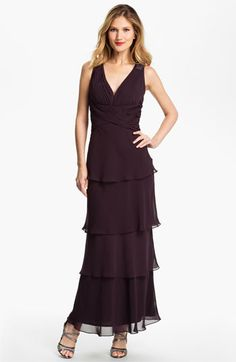 Alex Evenings Tiered Chiffon Gown   Nordstrom