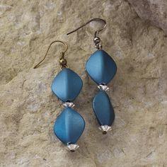 Blue Satin Dangle Earrings 25 Long  Blue Beads by TamaraSlack, $5.00