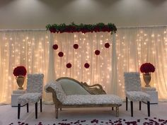 Simple Stage Decorations, Engagement Stage Decoration, Wedding Night Room Decorations, Marriage Decoration, Indian Wedding Decorations, Reception Stage Decor, Wedding Stage Design, Wedding Reception Backdrop, Indian Wedding Stage