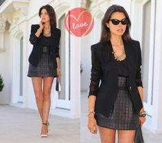blazer feminino preto com saia curta