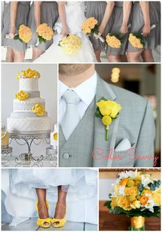 Color Inspiration: Yellow + Grey Wedding but add navy blue Yellow Grey Weddings, Gray Weddings, Yellow Wedding, Perfect Wedding, Our Wedding, Dream Wedding, Wedding Stuff, Wedding 2015, Trendy Wedding