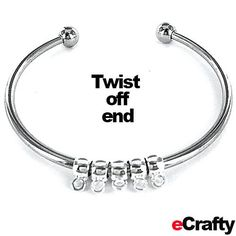 EASY DIY eCrafty.com's new bangle kit (SKU 940) is so easy to use that Anne had a hard time stopping once she got going. Twist off an end bead, add beads, twist the end bead back in place and you're done! #jewelrysupplies #beads #diy #handmade #jewelry #etsy #bangle #diyjewelry #beading #crafting #bracelet #ecrafty