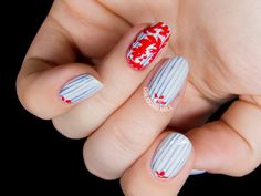 Pinstripe and Damask Nail Art Inspired by Tory Burch