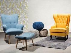 Butaca - Azul – Sillón tapizado – Reposapiés – VEJLE