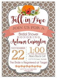 Printable Fall-Themed Bridal Shower Invitation