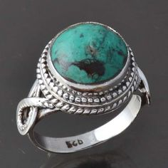 925 solid STERLING SILVER Turquoise EXCLUSIVE RING 6.57g R9290 SIZE-8 #Handmade #Ring