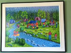 Naive painting Folk Art Camping Original acrylic by treeartist