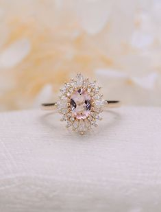 Morganite engagement ring vintage Art deco Oval Unique engagement ring yellow gold women Halo Multi Flower Bridal Jewelry Anniversary gift Morganite S Art Deco Wedding Rings, Bridal Rings, Bridal Jewelry, Pink Wedding Rings, Bridal Necklace, Deco Engagement Ring, Diamond Engagement Rings, Diamond Rings, Gold Rings