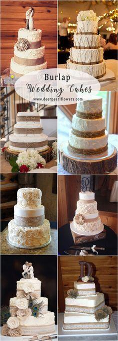 Rustic country burlap fall wedding cakes #rusticweddings #weddings #weddingideas #countryweddings ❤️ http://www.deerpearlflowers.com/rustic-country-burlap-wedding-decor-ideas/