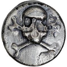 "Skull 3 Ozt MK BarZ .999 Fine Silver HAND POURED /""SHIP WRECK/"" RND"