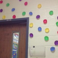 Polka dot classroom theme! Use cupcake liners and turn inside out! Cute! Did it myself!