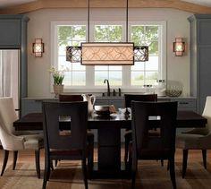 Rectangular design   Beautiful lighting design combined with a wood table   #lightingstores interior design #lighitngdesign Home Ideas #decoration #pendantlights   For more inspirations: www.lightingstores.eu
