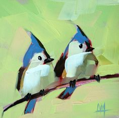 Two Tufted Titmice bird oil painting by Moulton 6 x 6 inches on panel by Angela Moulton  prattcreekart