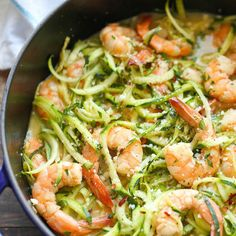 Zucchini Shrimp Scampi Recipe Main Dishes with unsalted butter, medium shrimp, garlic, red pepper flakes, chicken stock, lemon, kosher salt, ground black pepper, zucchini, freshly grated parmesan, fresh parsley leaves