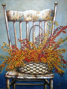 Stella Bruwer wicker basket with fall foliage on high back shabby white chair Vintage Diy, Watercolor Paintings, Painting & Drawing, Decoupage, Fall Clip Art, Creation Photo, Country Art, Painting Inspiration, Poppies