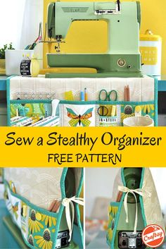 Get sewing then get organized with this free pattern for an incognito sewing-room organizer.