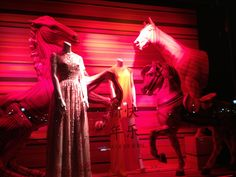 "Bergdorf Goodman's window display of red horses and ""Happy New Year"" in Chinese on January 19, 2014"